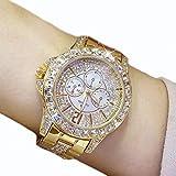 WOSOSYEYO A02008 Reloj de Cuarzo de Acero con Diamantes de imitación a Prueba de Agua para Mujer