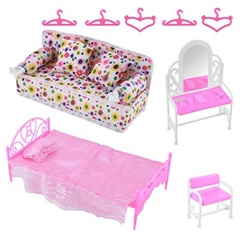 Felenny 8 Piezas de Accesorios de Muebles de Princesa Juego de Tocador + Juego de Sofá + Juego de Cama + Perchas para Dormitorio Muñeca Barbie