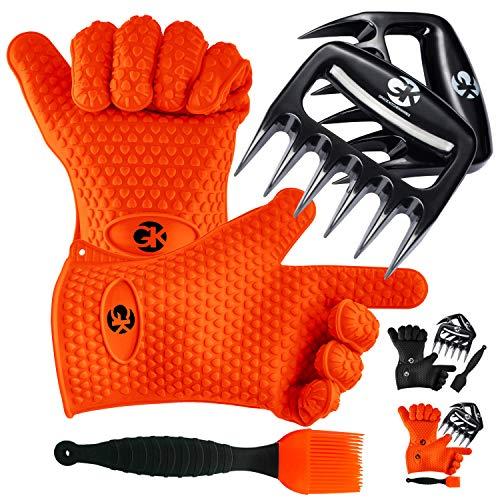 GK's 3 + 3 BBQ Man's Dream Set: Silicone BBQ Grill Gloves...
