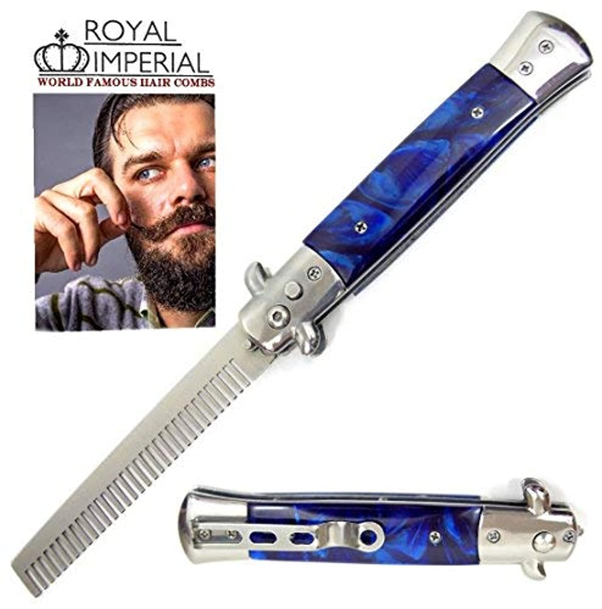 応用逆さまにの間にRoyal Imperial Metal Switchblade Pocket Folding Flick Hair Comb For Beard, Mustache, Head BLUE CYCLONE Handle ~ INCLUDES Beard Fact Wallet Book ~ Nicer Than Butterfly Knife Trainer [並行輸入品]