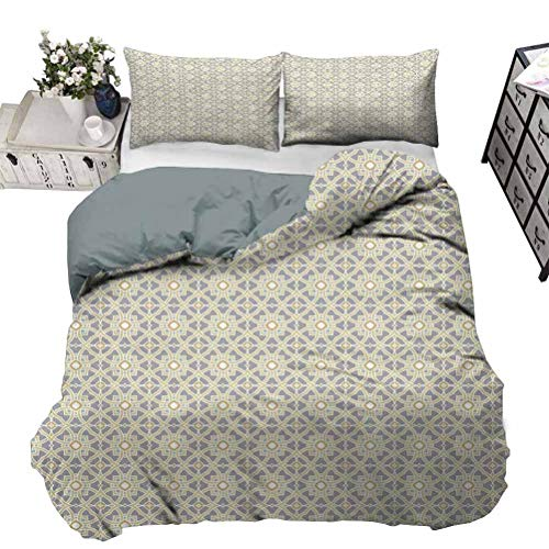 Bedding Set Portuguese Azulejo Tiles Pattern with Moroccan Inspirations Geometric Squares Lines Boys Bedding Sets Keeps You Just Warm Enough Without Overheat Taupe Beige Full - 203 x 230 CM
