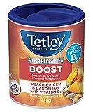 Tetley Super Herbal Tea Boost: Peach, Ginger,& Dandelion with Vitamin B6 - 20 Count (Grocery)