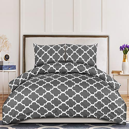 Utopia Bedding Bettbezug 200x200 cm mit 2 Kopfkissenbezügen 80x80 cm - Graue Doppelbettgarnitur - Mikrofaser-Bettbezugssets