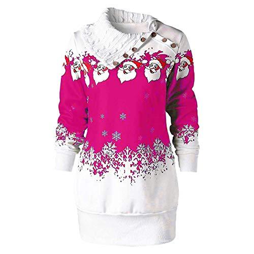 Auifor Weihnachtspullover, Damen Weihnachten Oberteile mit Schneeflocke Druck für...