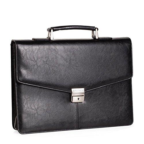 ITACA - Documenthouder 15 inch. Grote koffer voor directeur, professor, arts, advocaat. Werk- en draagbare documententas, schoudertas. Unisex T50037, Color Zwart
