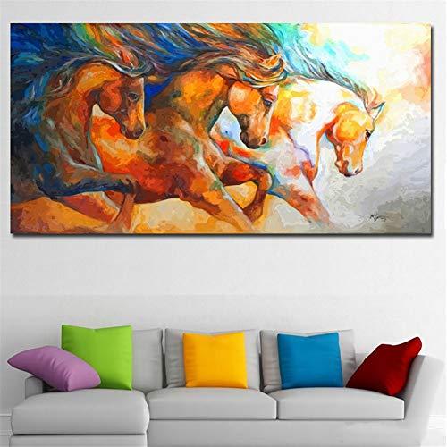 Jooui Q2161 diamantschilderset, groot, set met 3 paarden, borduurwerk, strass-steen, kruissteek, handgemaakt, doe-het-zelver, wanddecoratie 70X140cm Square Drill