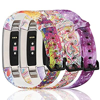 honecumi Floral Pattern Bands Compatible with Fitbit Alta/Alta hr Wristband Replacement Accessory-Exchange Watch Band for Men&Women Colorful Stripe Printing Straps