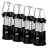 lighting ever le lampe de camping led portable, lot de 4, lanterne led etanche à piles, lanterne de camping pour bricolage, cave, tente, eclairage de secours, etc