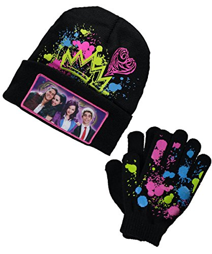 Descendants Youth Beanie Hat and Gloves Set (BLACK)
