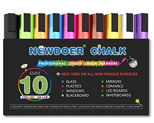 Newdoer Kreidemarker - 10 Farbe bright Neon Flüssigkreide Premium Künstler Qualität Marker Pen Set - Kind freundlich - Perfekt für Kreidetafeln, Bistro, Windows, Glas, Etiketten, Whiteboards
