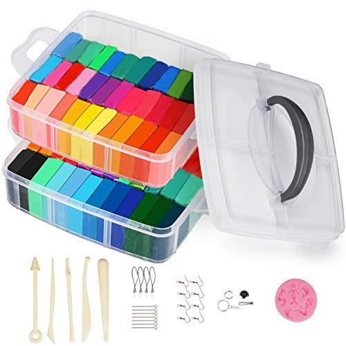 50 Colors Polymer Clay, Creative DIY Crafts Toy with Jewelry Accessories and Tools Soft Oven Bake Clay Best Gift for Kids