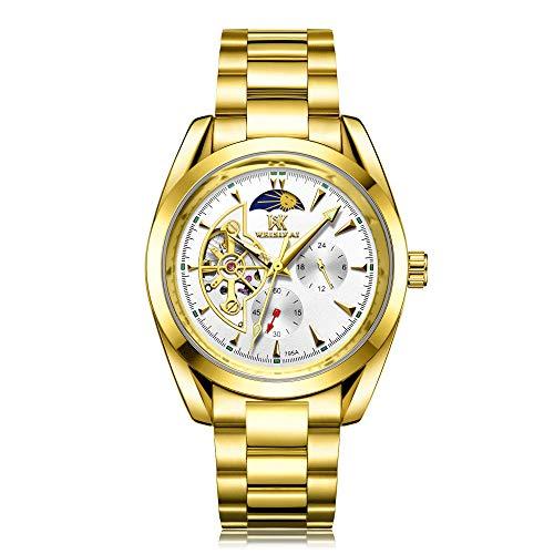 Relojes para Hombre Relojes de Pulsera esqueléticos mecánicos automáticos Relojes de Cuero Bobinado automático -A