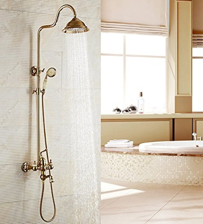 Home Bathroom Shower European Retro gold gold Copper All Nozzles Elevator Warm Bath Cold to Hand Constant Lifable
