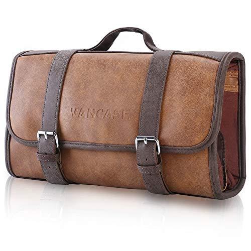 VANCASE Hanging Toiletry Bag for Men Leather Shaving Kit/Bathroom Shower Dopp Bag/Travel Accessories Organizer/Great Gift