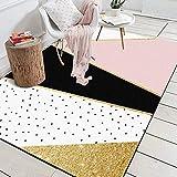 DPJS Tapis Rug Élégant Polyester Géométrique Rose Points Noirs Or Chambre Salon Chambre d'enfant De Sol Pad,160x230cm