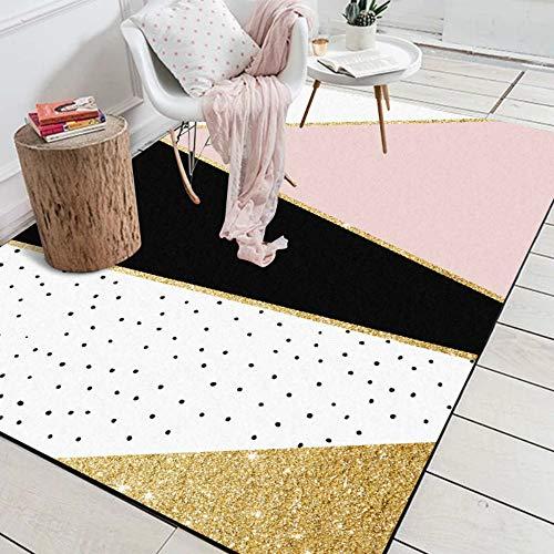 DPJS Tappeto Poliestere Geometrico Rosa Punti Neri Camera da Letto Oro Soggiorno Tappeto Tappetino Camera dei Bambini,45x75cm