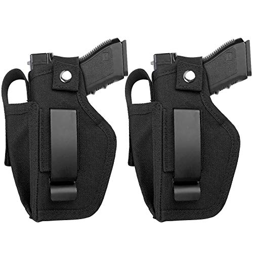2 Pack Universal Concealed Carry Gun Holster for Women and Men, Inside or Outside The Waistband with Magazine IWB Holsters Right and Left Hand Draw Fits Subcompact Compact Full Size Pistols