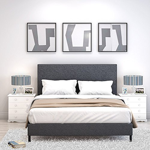 Platform Bed Frame with Fabric Upholstered Headboard and Wooden Slats Upholstered Mattress Foundation/Strong Wooden Slats Support (4FT6)