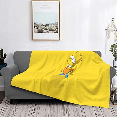 Simpsons - Manta de forro polar de microfibra suave y mullida para cama, sofá, silla, otoño e invierno, 125 x 150 cm