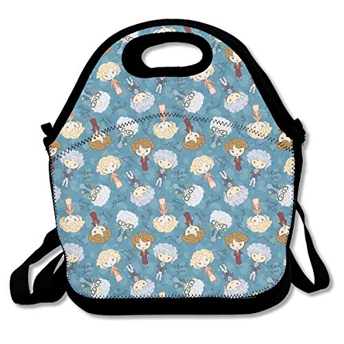 Lunch Bag Golden Girls Lunchbox for Travel Picnic Tote Handbag Shoulder Strap Women Teens Girls Kids Adults