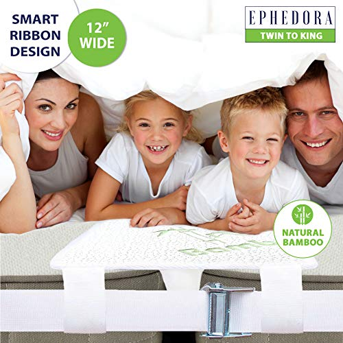 EPHEDORA Bed Bridge Twin to King Converter Kit - Mattress Extender Set to Fill in Gap - Memory Foam Filler Pad and Connector Strap - for Guest and Family Room (Twin to King (75' Long Bamboo))