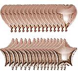 30 Piezas Globos de Helio con Forma de Corazón, Globo de Papel de Aluminio, Globos de Corazón para Bodas, para Bodas, Decoración Navideña, Creación de Ambientes (Oro Rosa)