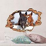 Sticker 3D Effekt | Wandaufkleber Pferd - Tapete Dekoration optische Täuschung Raum und Wohnzimmer | 60 x 90 cm - 4