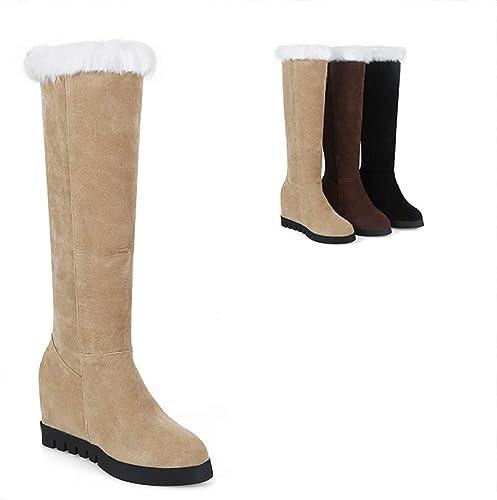 ZHRUI botas para mujer - botas Altas para la Moda botas Calientes Planas Antideslizantes   34-43 (Color   Buff, tamaño   43)