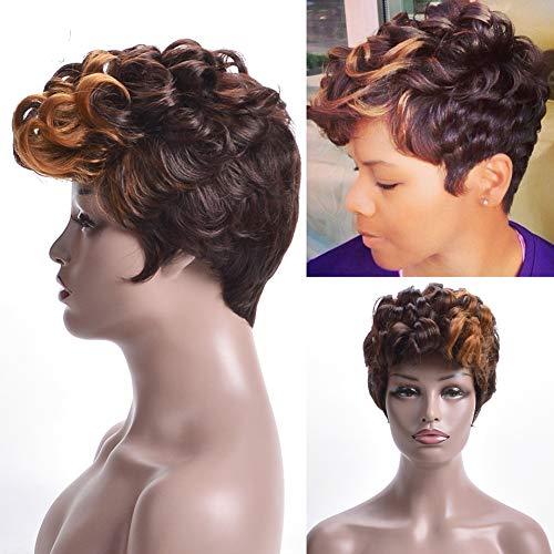 Etruke Perruque courte crépue bouclée synthétique afro bouclée pour femme noire, utilisation quotidienne, fibre résistante à la chaleur, marron ombré