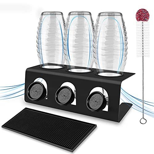 Flaschenhalter für Sodastream 3er aus Edelstahl Abtropfhalter Sodastream mit Abtropfwanne, Abtropfständer Flaschenständer Flaschen mit Flaschenbürste Abtropfgestell für SodaStream Glasflaschen Crystal