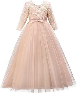 IMEKIS Feestelijke jurk voor bloemenmeisjes, prinsessenjurk, kant, tule, feestjurk, elegante bruidsmeisjesjurk, lange mouw...