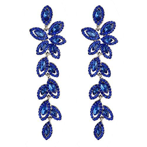 Idealway - Orecchini pendenti con brillanti e cristalli a forma di goccia, Lega, colore: Blue, cod. E-3847