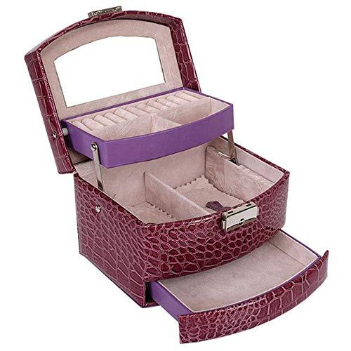 CCEKD Joyero Caja de joyería de Cuero automática Caja de Almacenamiento de Tres Capas para Mujeres Anillo de Pendiente Estuche Organizador cosmético para Decoraciones