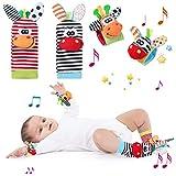 WolinTek 4PCS Sonajeros para bebés, Calcetines y Muñequeras para Bebé,...