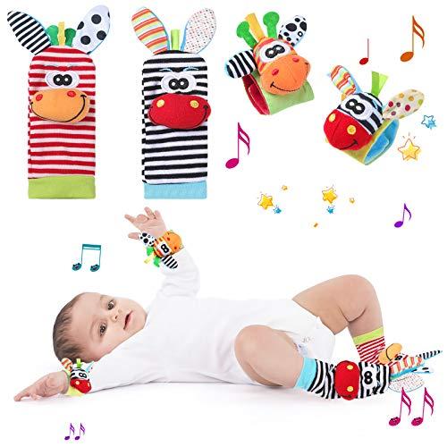 WolinTek 4PCS Sonajeros para bebés, Calcetines y Muñequeras para Bebé, Juguetes de Peluches de Desarrollo para bebés,Juguetes de Animales Suaves y Bonitos para Recién Nacidos Bebés