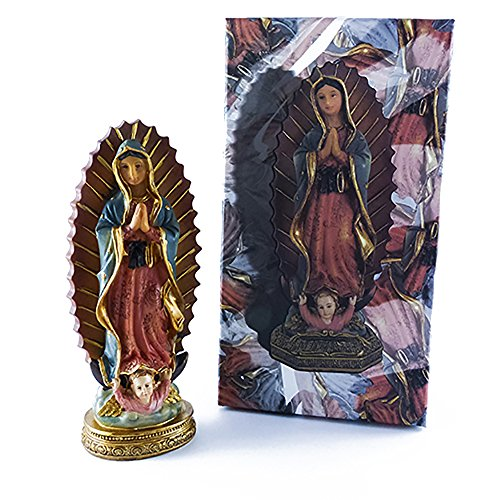 Tarot Carmen Figura Virgen de Guadalupe en Resina Pintada a Mano de 15 cms de Alto