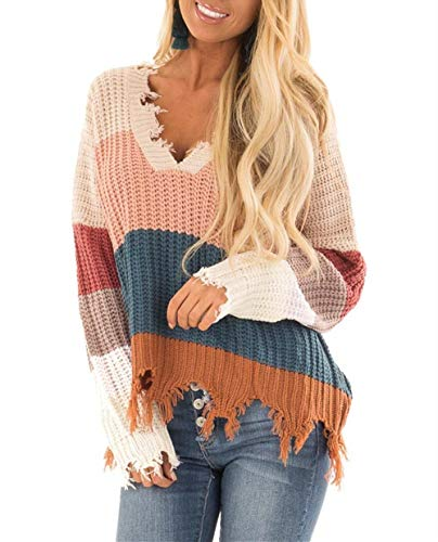 LEANI Women's Loose Knitted Color Block Sweater Long Sleeve V-Neck Ripped Pullover Sweaters Crop Top Knit Jumper
