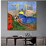 zkpzk Vincent Old Famous Master Artista Langlois Bridge En Arles Lienzo Pintura Póster Impresión Mur...
