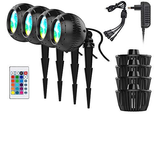 RGB Led Unterwasser Scheinwerfer Kit, IP68 LED-Teichlicht Unterwasserlicht mit Fernbedienung Aquarium Licht 16 Farbe für Landschafts Fischteich Teich Schwimmen Gartenteich