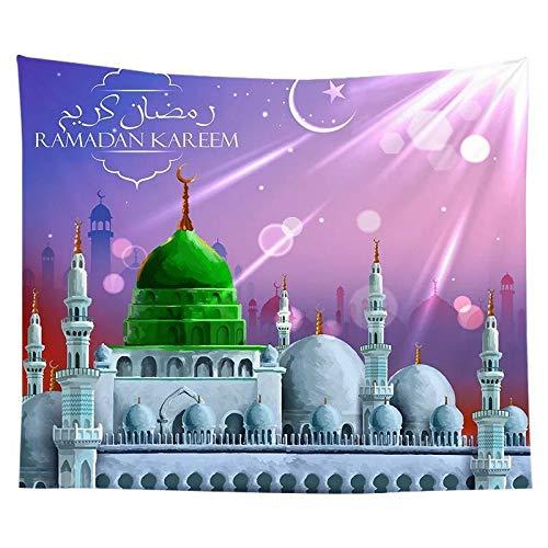 KHKJ Tapiz musulmán Eid Ramadán Impreso Tela Colgante Fondo Tela de Pared decoración de Dormitorio Manta de Playa A6 200x180cm