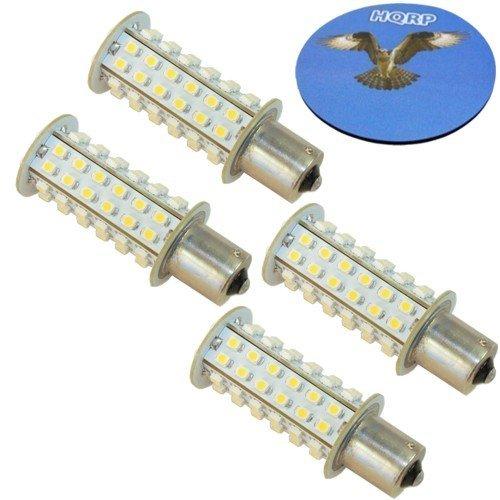 HQRP Paquet de 4 ampoules LED BA15s 66 LEDs SMD 3528 LED Blanc chaud pour #1073#1093#1129 + HQRP Sous-verre