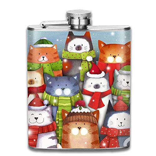 Cat Caroling Christmas 304 Stainless Steel Pocket Hip Flask Outdoor Portable Pattern Flagon Water Flasks 70Z