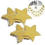 WINOMO Guirnalda de 2 piezas de estrellas doradas para la decoración de la fiesta de Navidad (2M Gold Glitter)