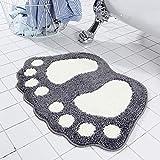 DishyKooker - Cojín para Huellas, para la Puerta del Cuarto de baño o la Cocina, para Regalo de niños, Hellgraue Füße, 40 x 60 cm