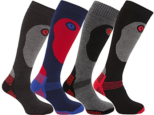 HDUK Mens Socks [4 pares] Calcetines térmicos de esquí de alto rendimiento para hombres / UK 6-11 Eur 39-45