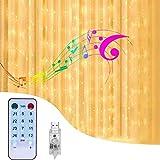 CGBOOM Cortina de Luces ,3m*3m 300 LED 8 Modos de Luz con Control Remoto y 4 Modo de Música,IP44 Impermeable,Cadena de Luces Decoración de Casa, Fiestas, Bodas, Jardin, Arbol de Navidad