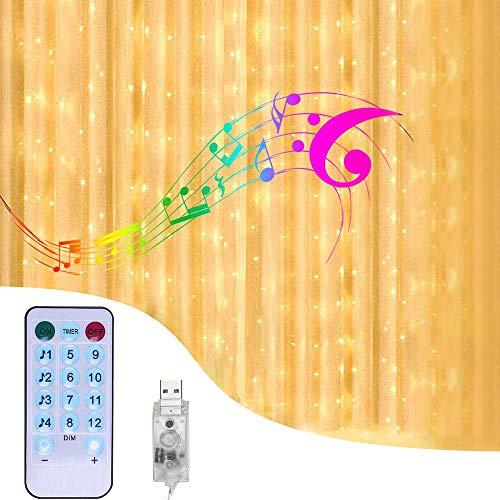 CGBOOM Impermeabile Tenda Luminosa 3 x 3M 300 LED Natale Tenda Luci, Catene Luminose con attivate per musica Telecomando 4 modalità di USB musica e 8 modalità di illuminazione