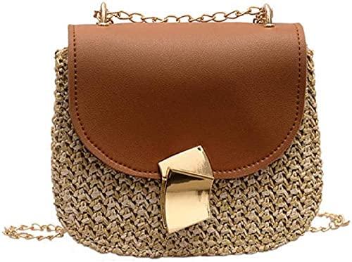 lndytq Bolso de mensajero para mujer, bolso de paja para la playa, bolso de ratán tejido con correa de cadena, bolso de hombro para mujer, bolso pequeño consolapa cruzada paramujer,Bolsa-1-1