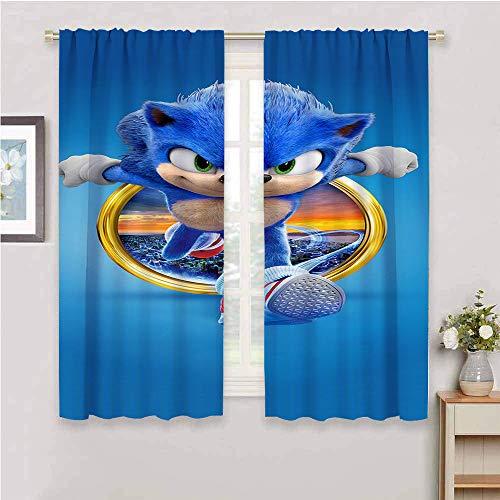Cortinas con bloqueo de luz para sala de estar, cortinas de sonido para dormitorio de niños, cortinas opacas para recámara Sonic Tails (personaje) Nudillos, Sonic Force, poliéster, Color_04, W72' x L72'(183cm x 183cm)