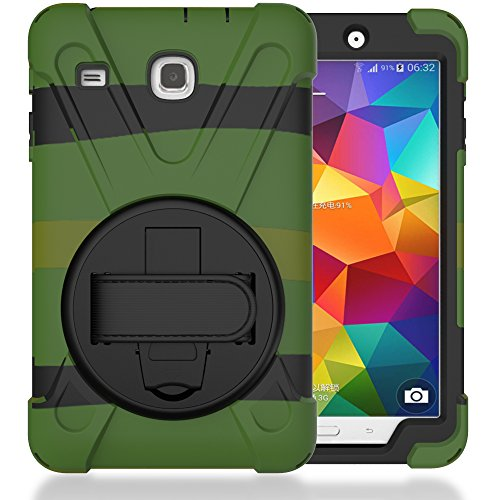 Case for Tab E 8.0' T377 [2016 Release], Shockproof Hybrid Protective Shield Case Cover/Palm Handstrap for Samsung Galaxy Tab E 8.0' SM-T377A / T377V / T377P (W/Camo)